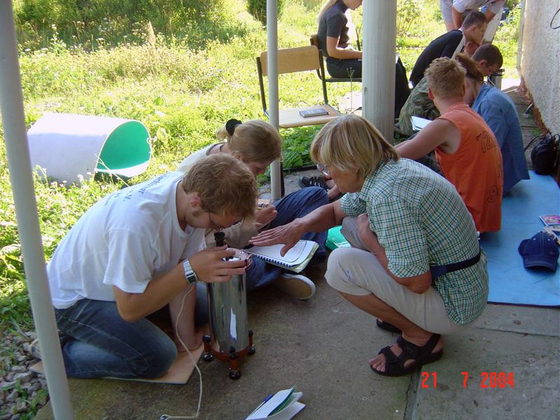 Занятия по гравиметрии на практике в Александровке